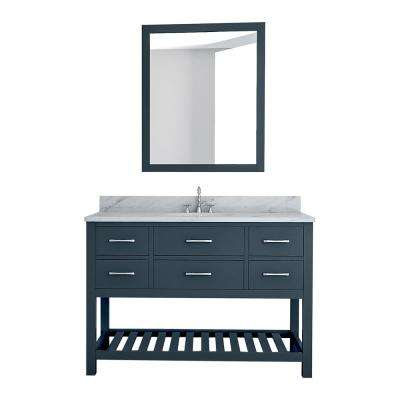Rochester 49 in. W x 22 in. D Bath Vanity in Gray with Marble Vanity Top in White with White Basin and Mirror