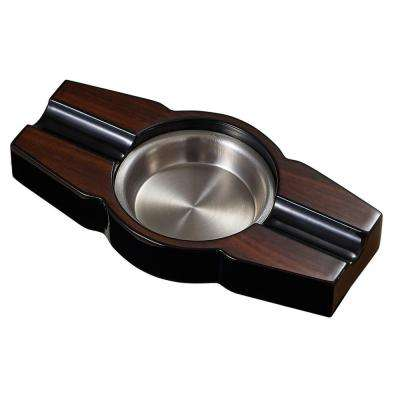 Santiago Lacquered Wood Cigar Ashtray with 2-Cigar Rests