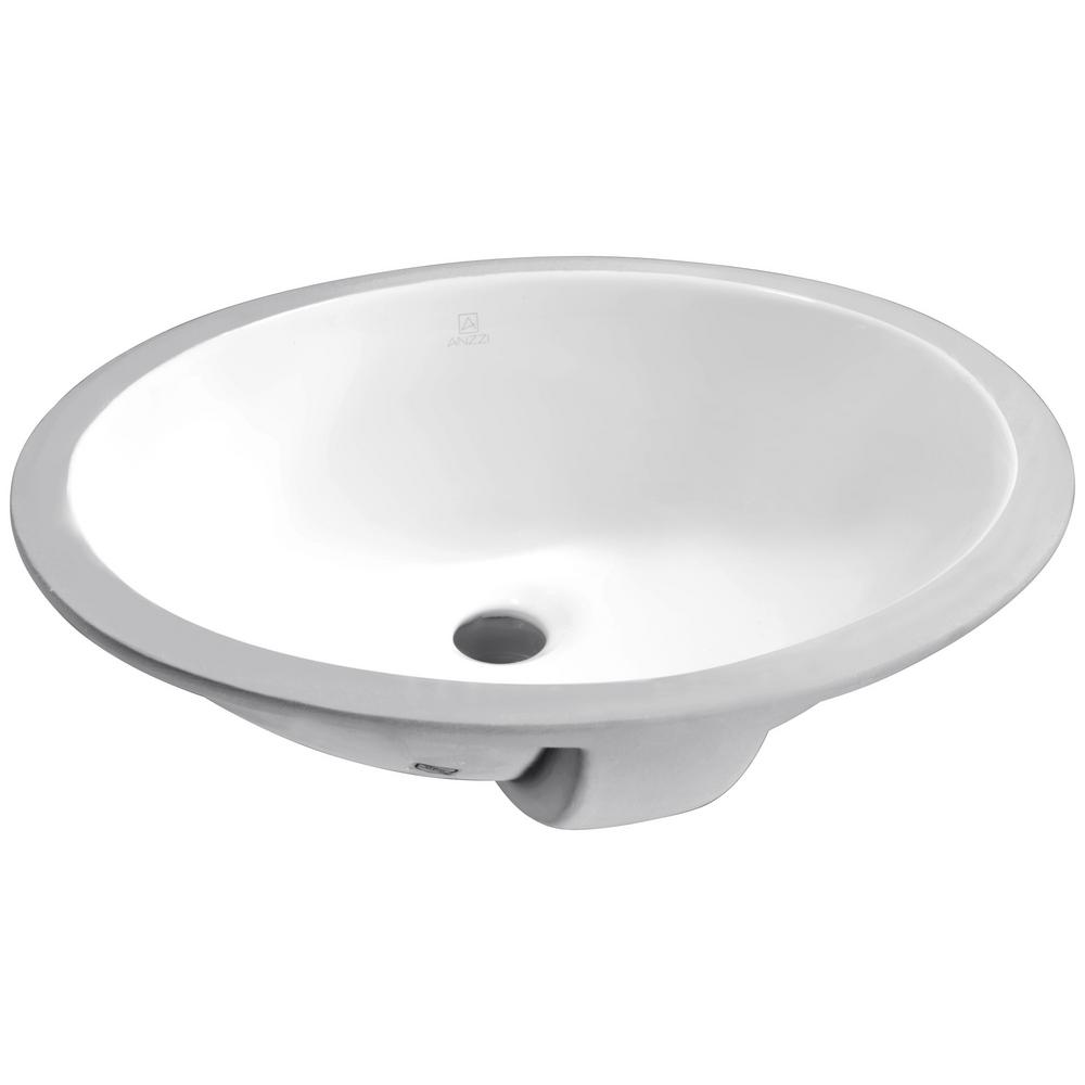 Lanmia Series 8 in. Ceramic Undermount Sink Basin in White