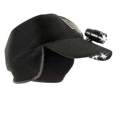 POWERCAP LED Premium Winter Headlamp Hat EXP 200 Ultra-Bright Hands Free Lighted Battery Powered Fleece Black