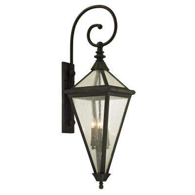 Geneva 4-Light Vintage Bronze 47 in. H Outdoor Wall Lantern Sconce with Clear Seeded Glass
