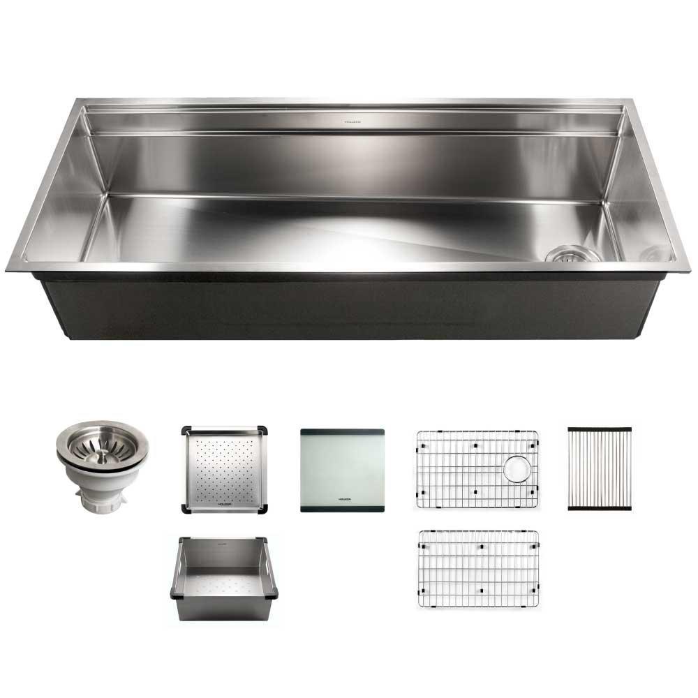 Houzer Novus Series Undermount Stainless Steel 45 In Single Bowl Kitchen Sink With Sliding Dual Platform Workstation