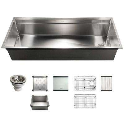 Novus Series Undermount Stainless Steel 45 in. Single Bowl Kitchen Sink with Sliding Dual Platform Workstation