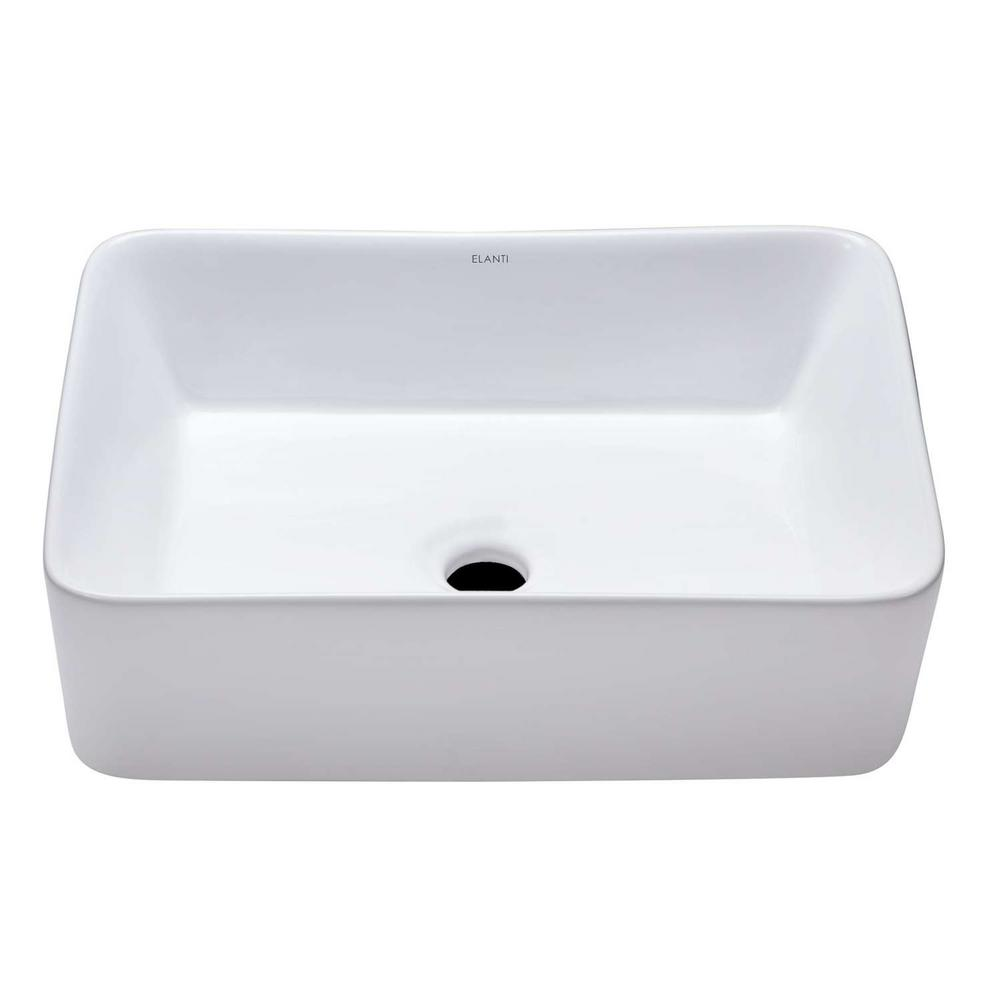 Elanti tall edged vessel sink in white 1606 the home depot for Are vessel sinks still in style 2016