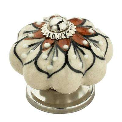 Red Flowered 1-7/10 in. (43 mm) Cream and Brown Cabinet Knob