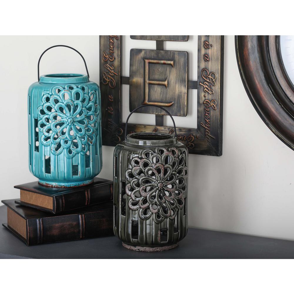 10 in. Rustic Ceramic Trellis Candle Lanterns (3-Pack)