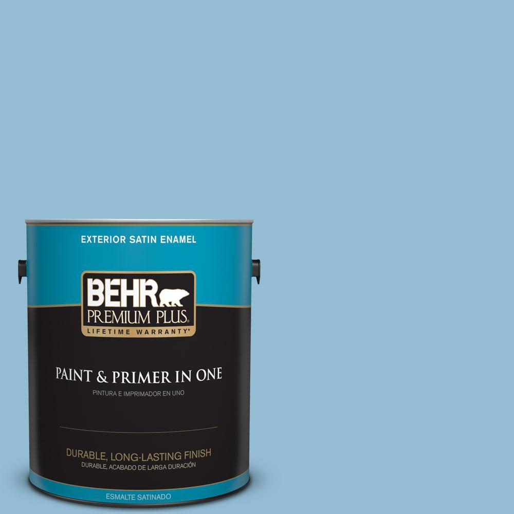 BEHR Premium Plus 1-gal. #M500-3 Blue Chalk Satin Enamel Exterior Paint