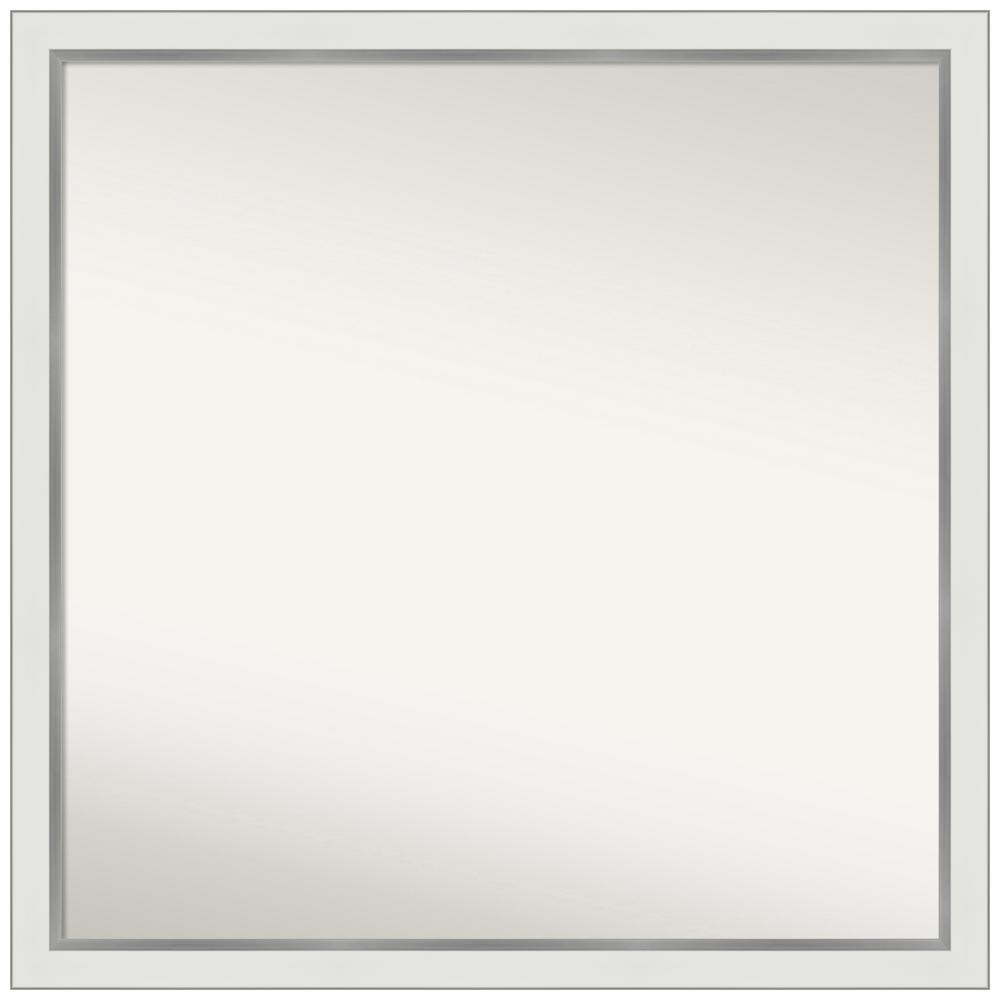 Medium Square Satin White Silver Casual Mirror (35.12 in. H x 35.12 in. W)
