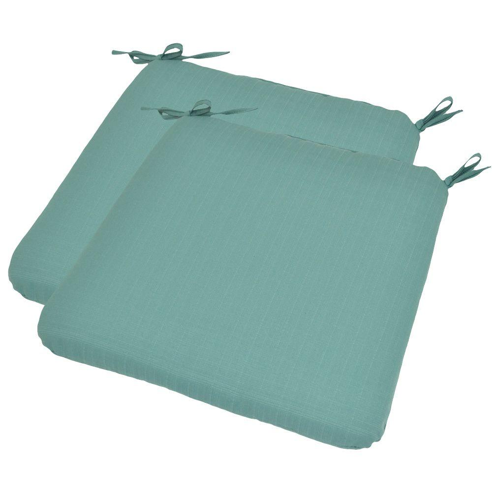 Plantation Patterns Turquoise Textured Outdoor Seat Pad (2-Pack)-DISCONTINUED