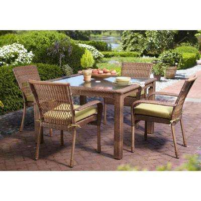 Charlottetown Brown 5-Piece All-Weather Wicker Outdoor Patio Dining Set with Green Bean Cushions
