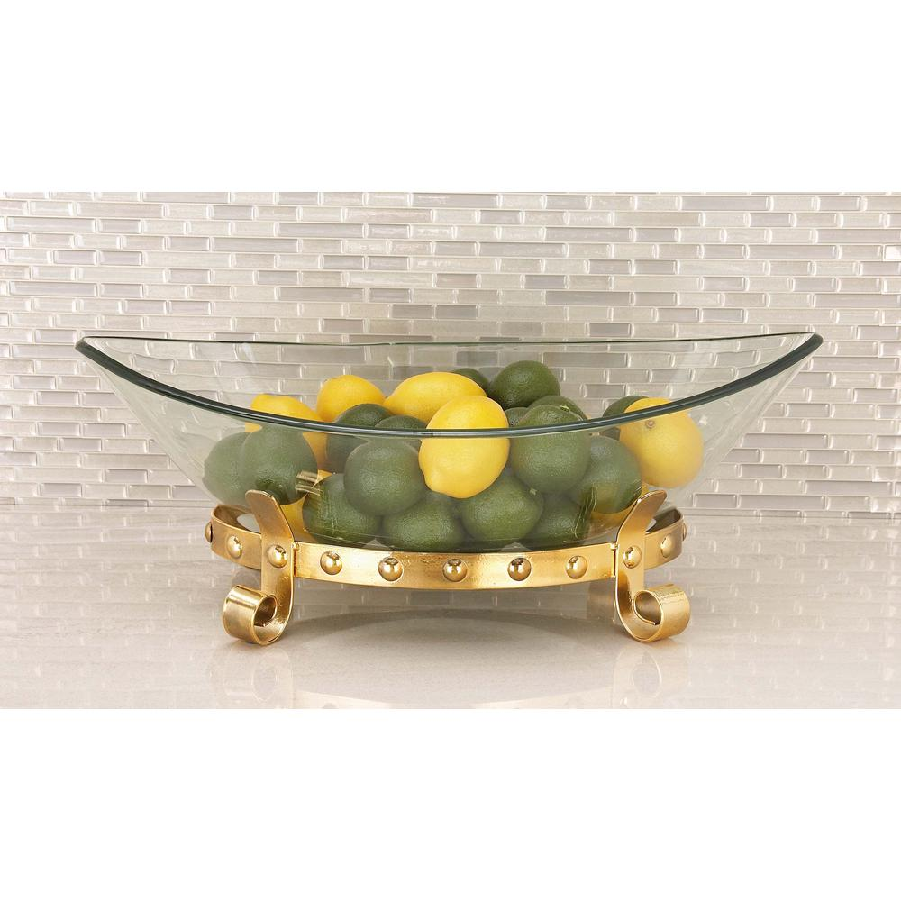 8 in. x 23 in. Glass Bowl with Scrolled Metal Stand