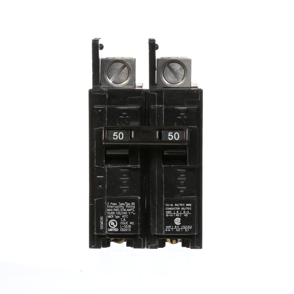 Ge Q Line 50 Amp 1 In Double Pole Circuit Breaker Thqp250 The Individual Breakers Should Be Labeled With A Permanent Marker Type Bq 10 Ka Lug Out