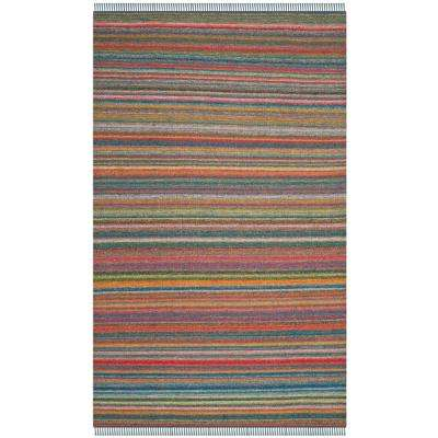 Kilim Blue/Orange 5 ft. x 8 ft. Area Rug