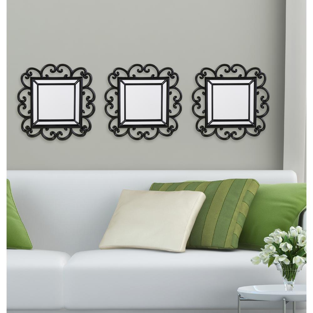3-Piece Black Curl Decorative Wall Mirror Set