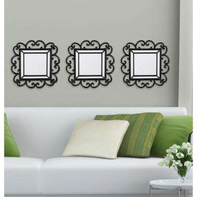3-Piece Black Curl Decorative Wall Mirror Set