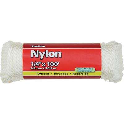 1/4 in. x 100 ft. White Twisted Nylon Rope - 124 lbs Safe Work Load - Hanked