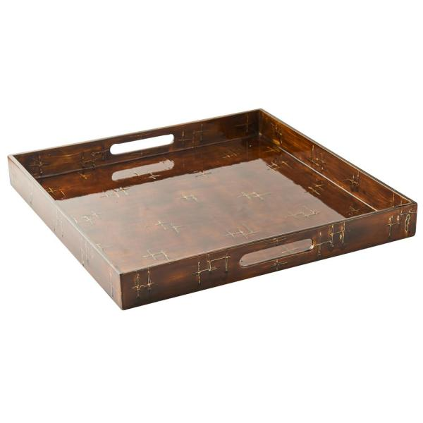17.75 in. L x 17.75 in. W x 2 in. H Brown Wooden Lacquer Square Tray