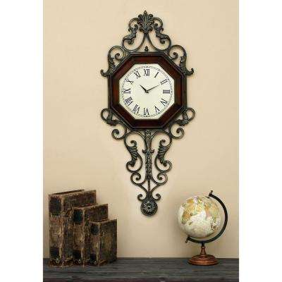 39 in. x 18 in. Wood and Metal Wall Clock