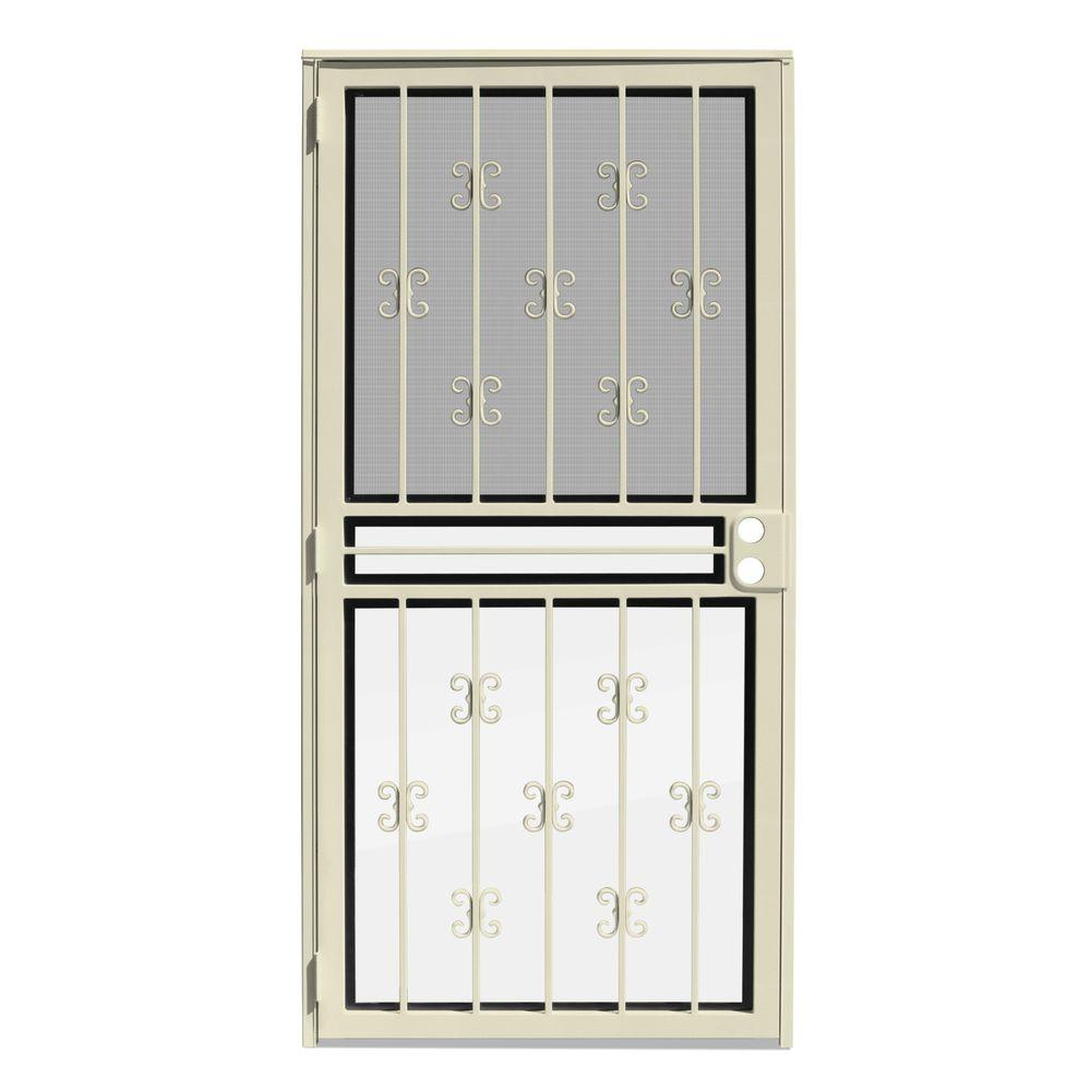 unique home designs 36 in x 80 in moorish lace almond recessed mount all season security door. Black Bedroom Furniture Sets. Home Design Ideas