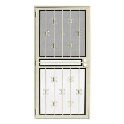36 in. x 80 in. Moorish Lace Almond Recessed Mount All Season Security Door with Insect Screen and Glass Inserts