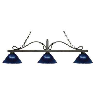 Lucienne 3-Light Golden Bronze Island Light with Dark Blue Shades
