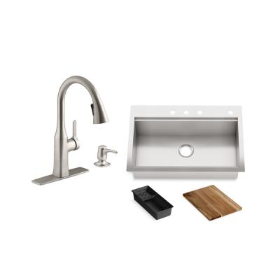 Lyric Workstation 33 in. Dual Mount Stainless Steel Single Bowl Kitchen Sink with Rubicon Kitchen Faucet and Accessories