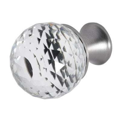 Rondure 1-1/4 in. Satin Nickel with Clear Crystal Cabinet Knob