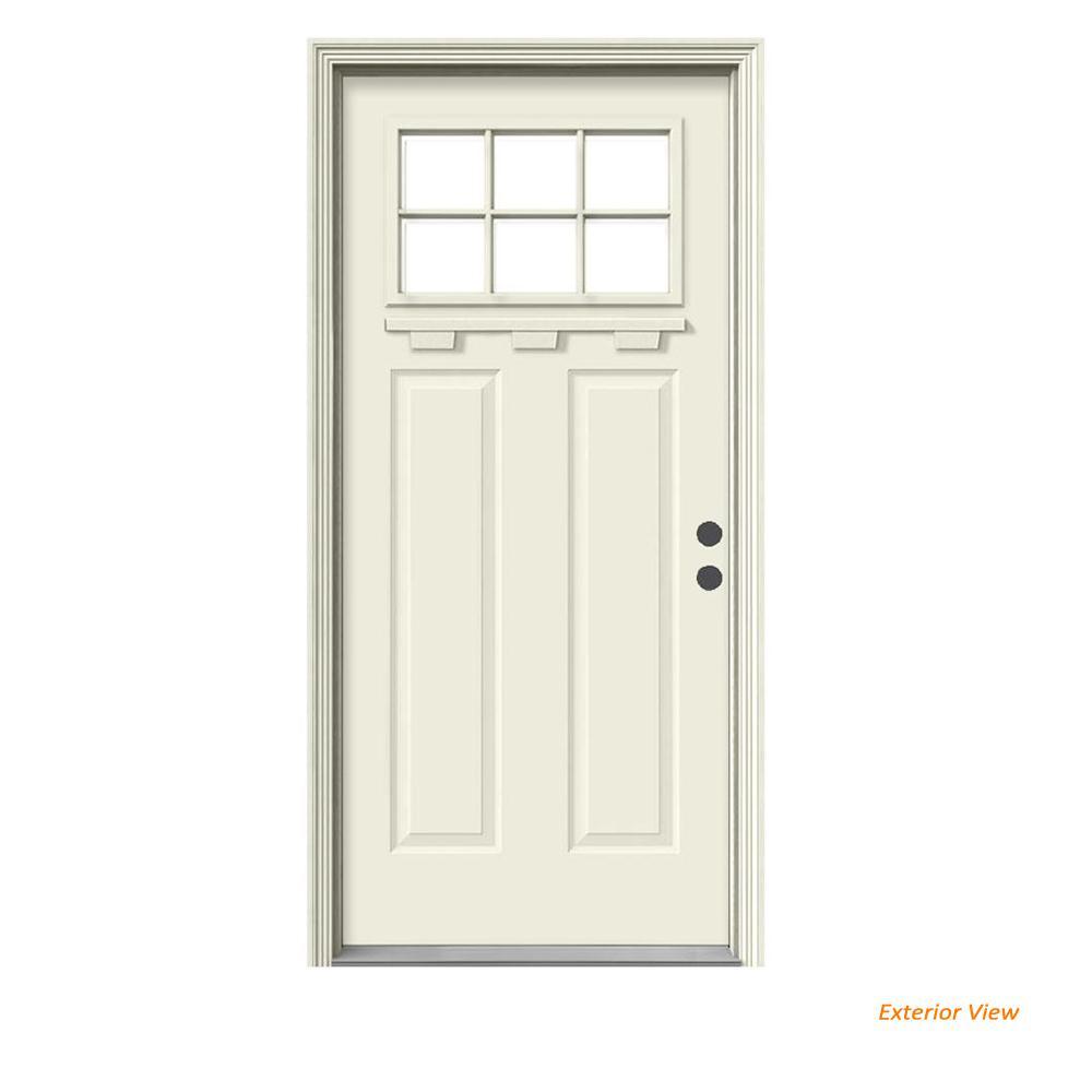 """JELD-WEN """" 36 in. x 80 in. 6 Lite Craftsman Primed Steel Prehung Left-Hand Inswing Front Door w/Brickmould and Shelf"""""""