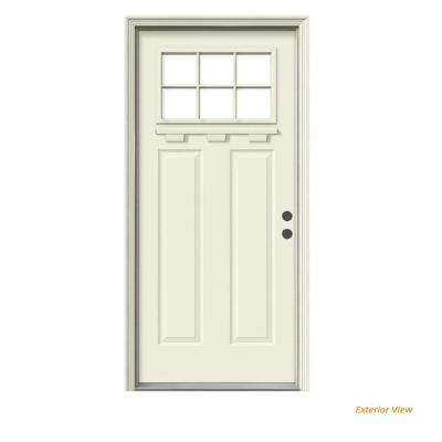 """ 36 in. x 80 in. 6 Lite Craftsman Primed Steel Prehung Left-Hand Inswing Front Door w/Brickmould and Shelf"""