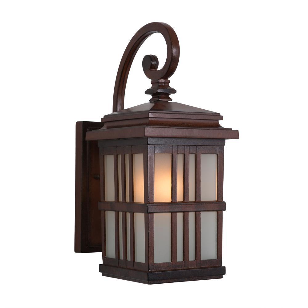 Granite Ridge Collection 1-Light Brown Outdoor Wall Lantern Sconce