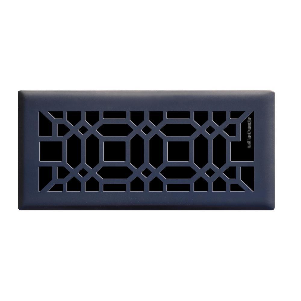 Oriental 4 in. x 10 in. Steel Floor Register, Matte Black