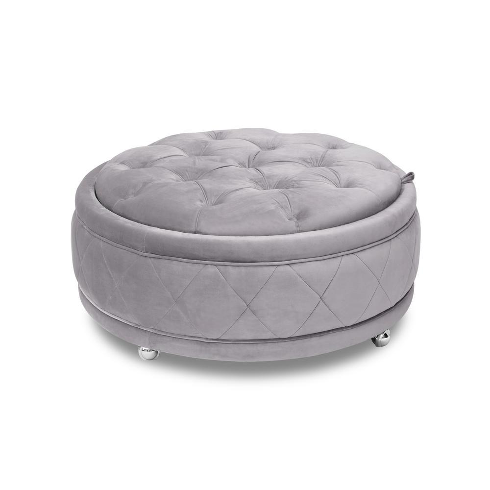 Barnum Grey Storage Ottoman With Chrome Wheels