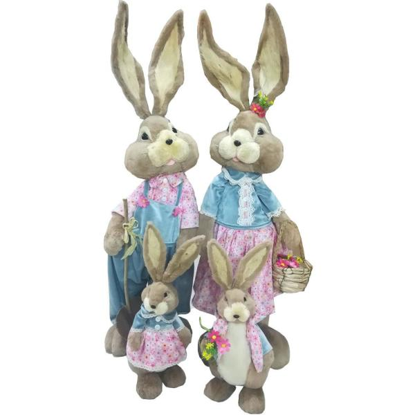 Fraser Hill Farm 38 In Easter Sisal Bunny Family Figurine 4 Piece Fhspbnnyfmly Brw1 The Home Depot
