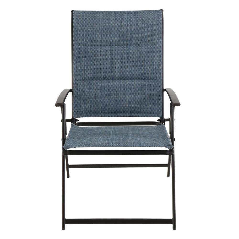 mix and match folding steel outdoor dining chair in denim sling 2 pack