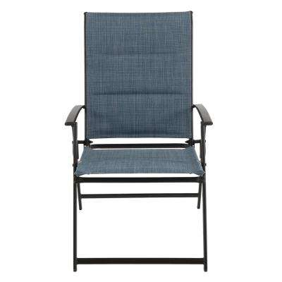 Mix and Match Folding Steel Outdoor Dining Chair in Denim Sling (2-Pack)