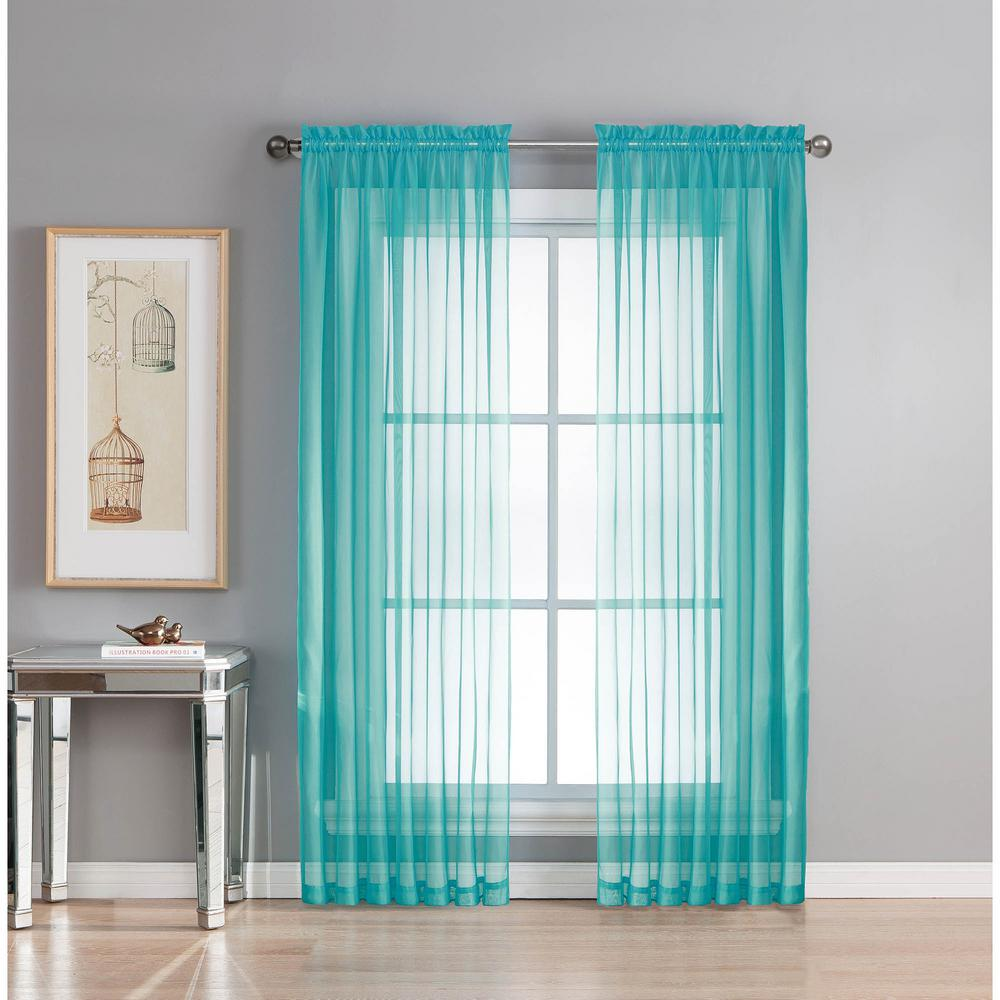 Window Elements Sheer Diamond Sheer Turquoise Rod Pocket Extra Wide Curtain Panel 56 In W X 95