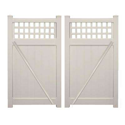 Scottsdale 7.4 ft. W x 5 ft. H Tan Vinyl Privacy Fence Double Gate Kit
