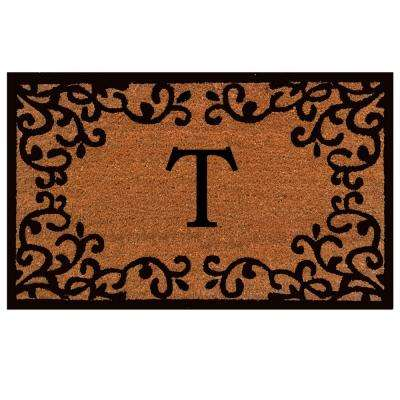 Chateaux Monogram Door Mat 24 in. x 36 in. (Letter T)