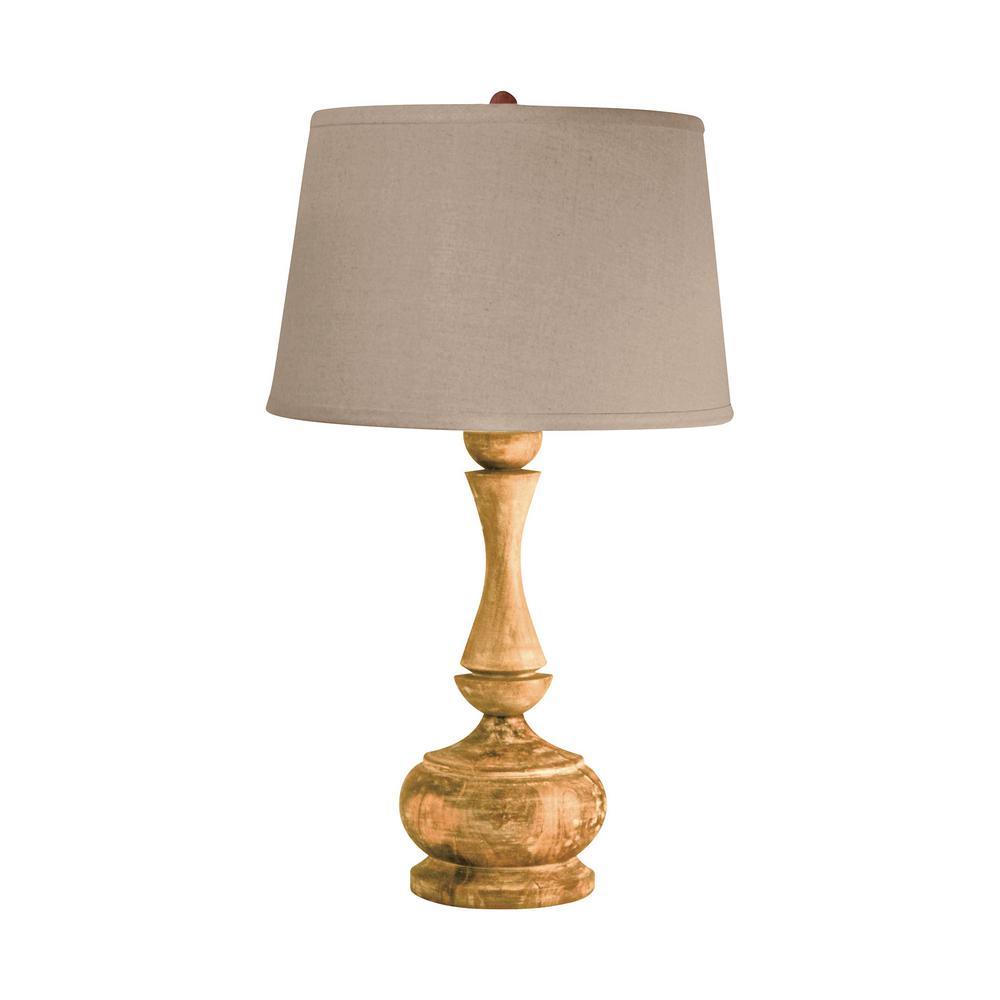 Titan Lighting 29 In Distressed Acacia Wood Table Lamp Tn 891537