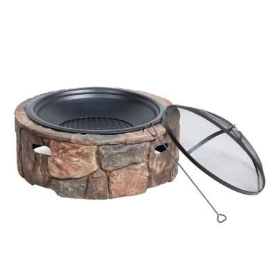 35 in. x 20.5 in. Round Cast Stone Base Wood Burning Fire Pit Large Stone