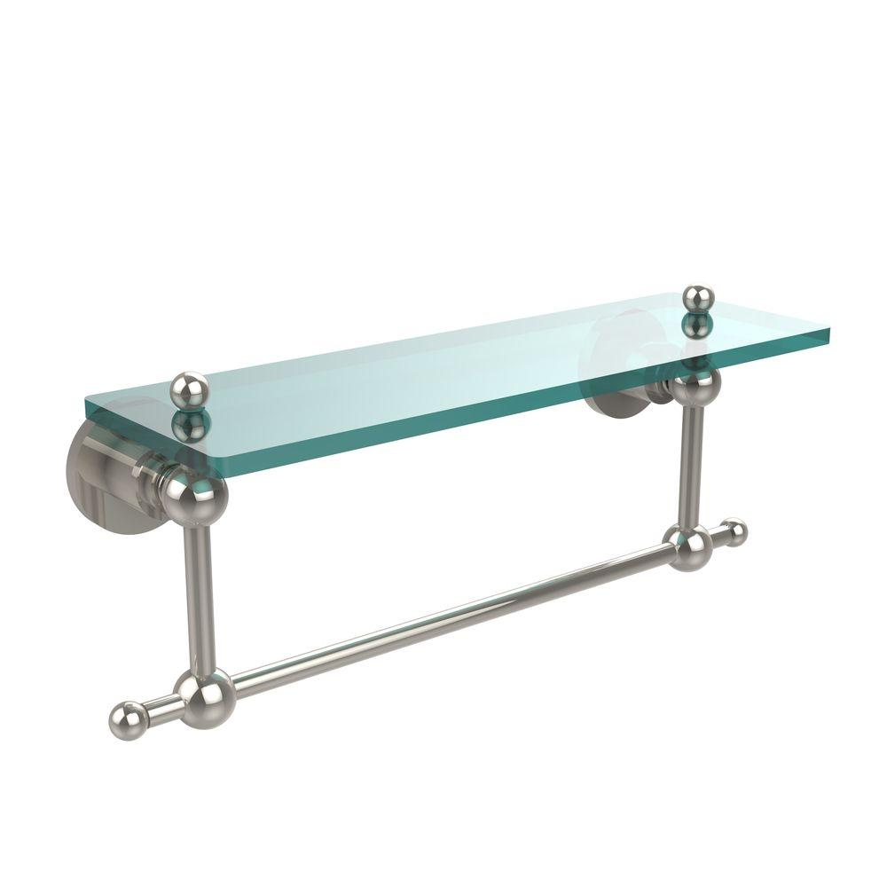 Allied Brass Astor Place 16 In L X 4 In H X 5 In W Clear Glass Vanity Bathroom Shelf With Towel Bar In Polished Nickel Ap 1tb 16 Pni The Home Depot