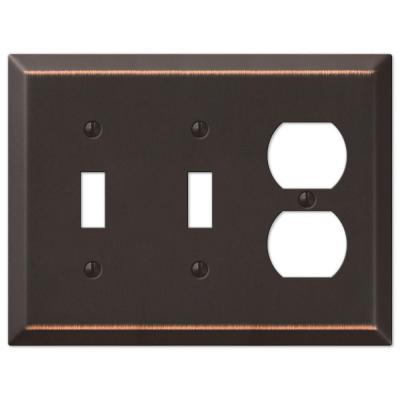 Metallic 3 Gang 2-Toggle and 1-Duplex Steel Wall Plate - Aged Bronze