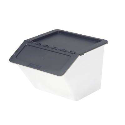 Patented Pelican Series 23 Qt. Stackable and Nestable Storage Box with 2-Stage Lid in Grey