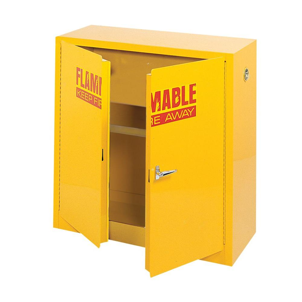 D Steel Freestanding Flammable Liquid Safety Double Door Cabinet In  Yellow SC300F   The Home Depot