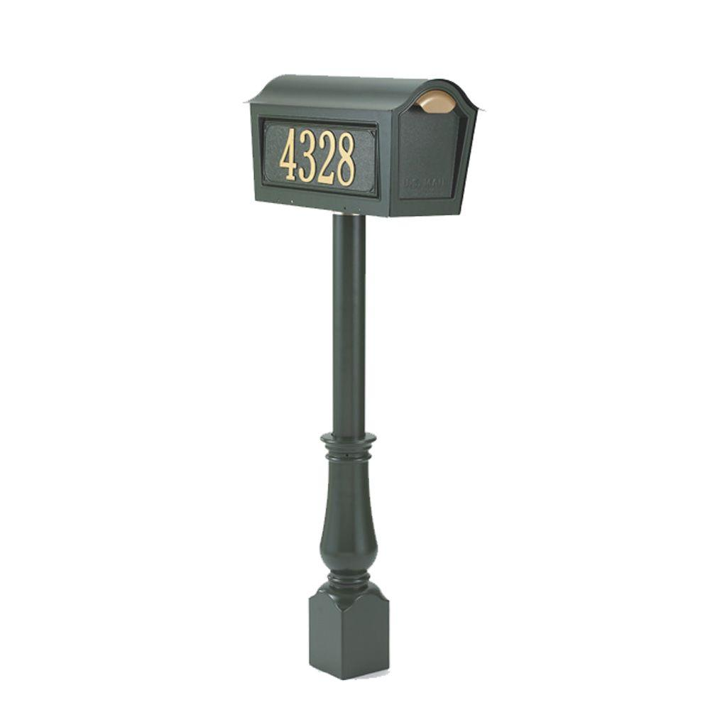 Whitehall Products Classic Chalet Mailbox Package in Black
