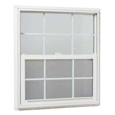 31.25 in. x 35.25 in. Single Hung Vinyl Window Insulated with Grids, White