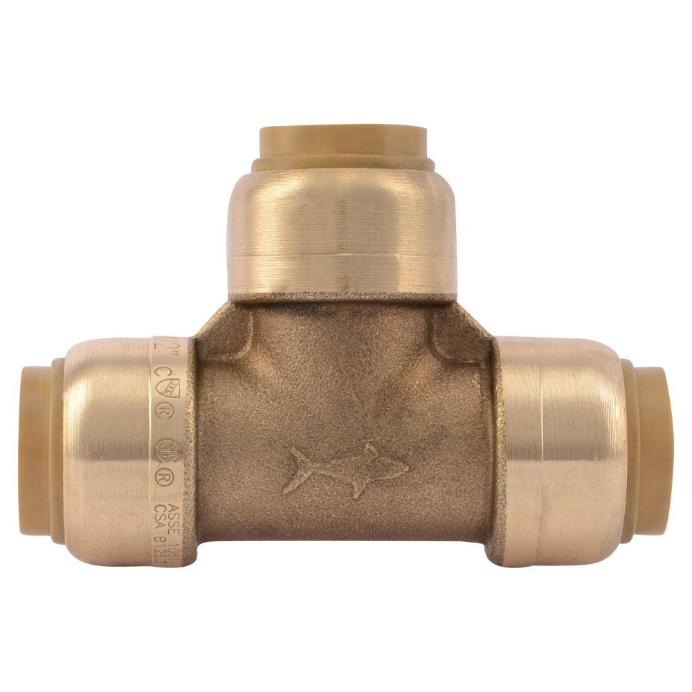 Push To Connect Fittings >> Sharkbite 1 2 In Push To Connect Brass Tee Fitting 10 Pack