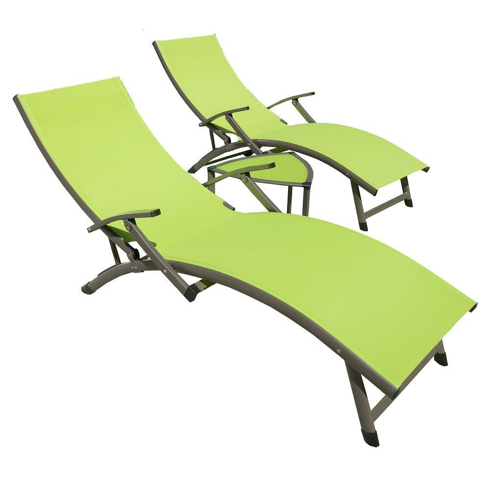 Rst Brands Sol Sling 3 Piece Green Patio Chaise Lounge Set