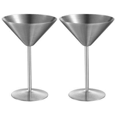 Charlotte 8 oz. Stainless Steel Martini Glass (Set of 2)