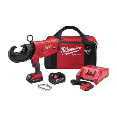 M18 18-Volt Lithium-Ion Cordless FORCE LOGIC 12 Ton Utility Crimper W/ (2) Batteries, Charger, Tool Bag